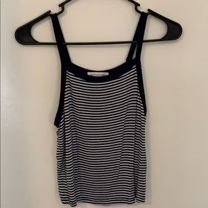 Blue and white striped tank crop top
